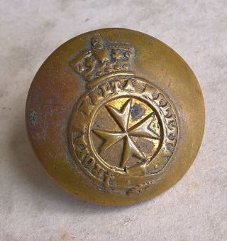 1875 - 1895 Royal Malta Militia Button Marked C Pitt & Co.  St.  Martins Lane London photo