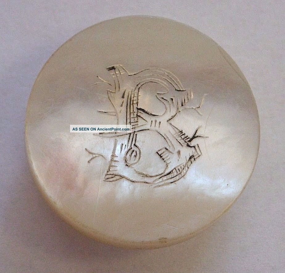 Antique Mother Of Pearl Cufflink Lapel Stud W/ Etched Initial