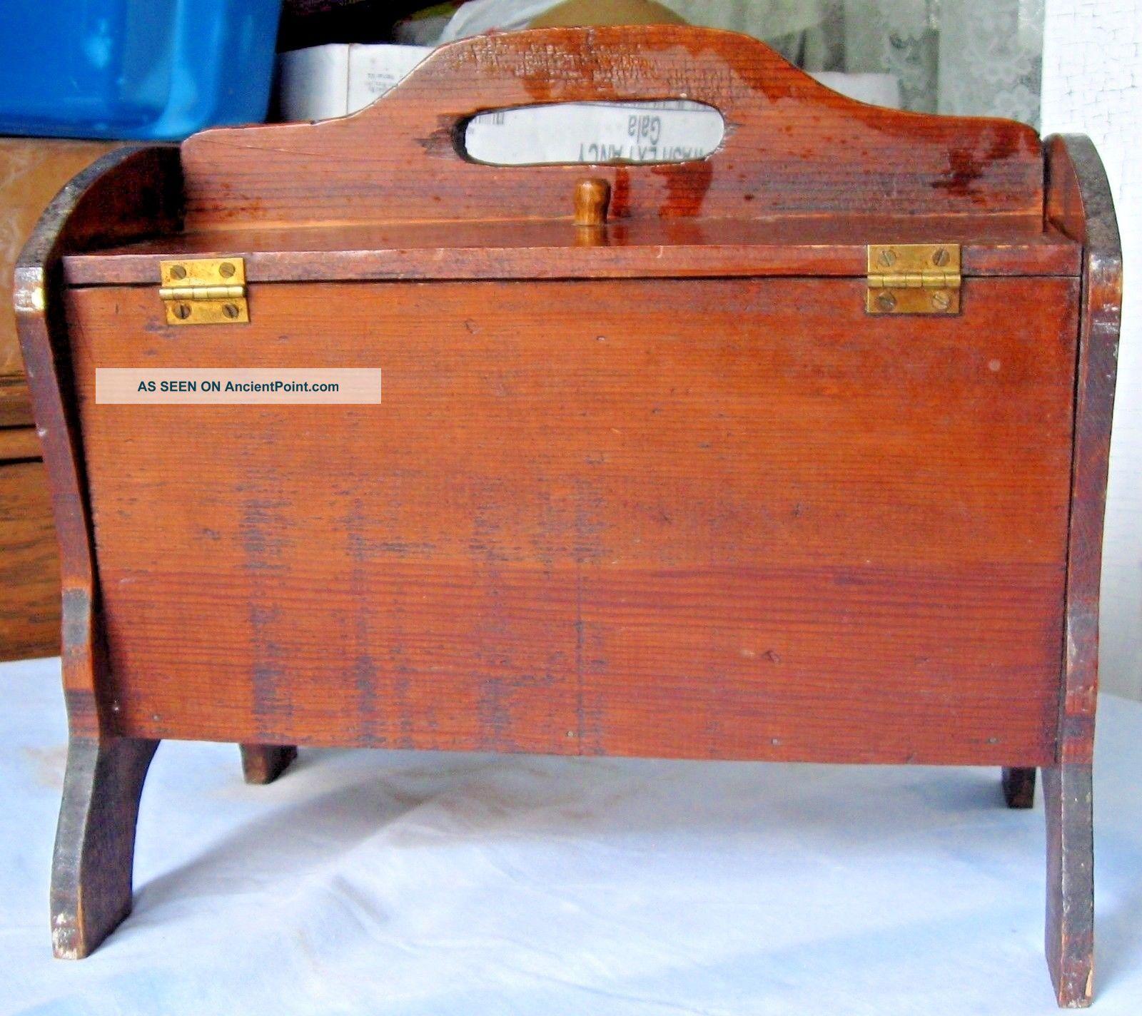 Vintage Wood Sewing Storage Box Flip Top 2 Lids Mending Tote Yarn Caddy W/handle Baskets & Boxes photo