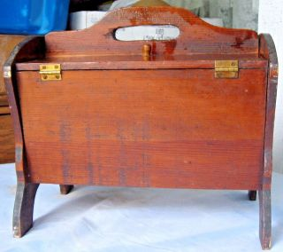 Vintage Wood Sewing Storage Box Flip Top 2 Lids Mending Tote Yarn Caddy W/handle photo