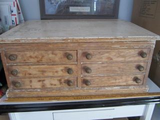 Antique Clark ' S Spool Thread Vintage Oak 6 Drawer Spool Cabinet Slat Desk Top photo