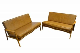 Mid Century Modern 2 Part Maple Knock Down Sofa Couch photo
