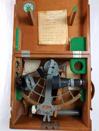 1960s Tamaya Of Japan Marine Sextant,  Monocular Scope,  Wood Case photo