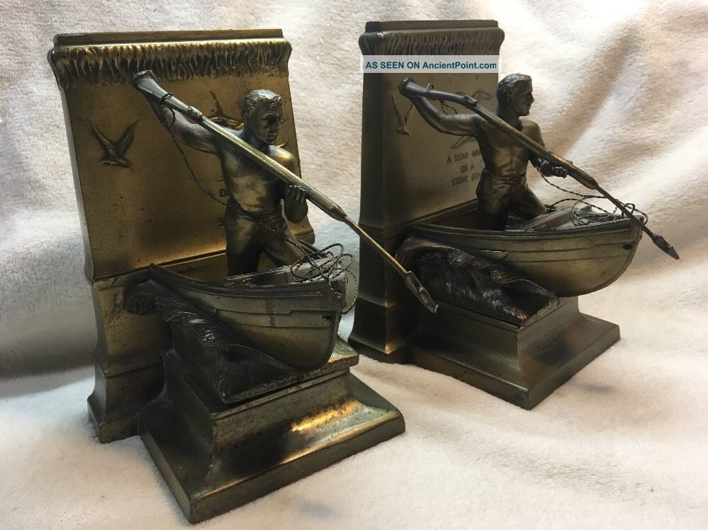Antique - Vintage Jennings Brothers Bookends A Dead Whale Or A Stove Boat Other Maritime Antiques photo
