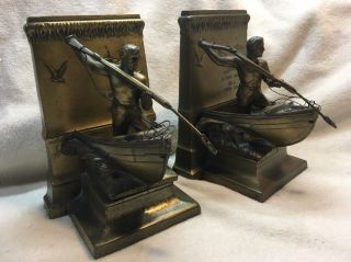 Antique - Vintage Jennings Brothers Bookends A Dead Whale Or A Stove Boat photo