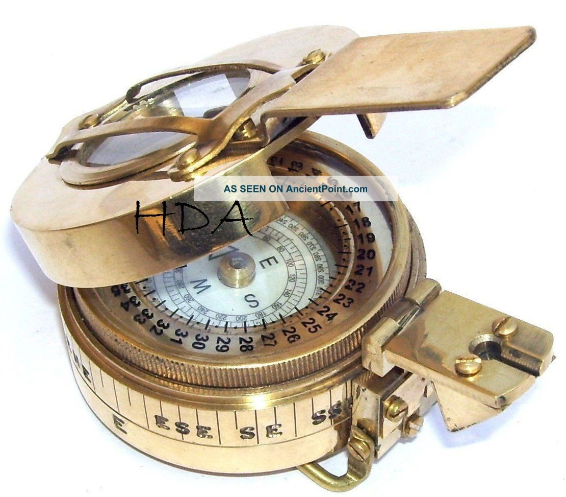 Antique Marine Brass British Military Engineering Lensatic Prismatic Compass Compasses photo