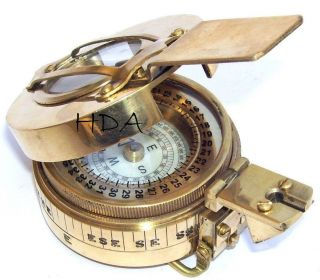 Antique Marine Brass British Military Engineering Lensatic Prismatic Compass photo