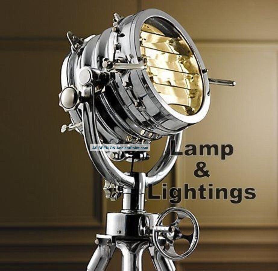 Lamp Floor Tripod Nautical Light Vintage Designer Decor Spot Searchlight Marine Lamps & Lighting photo