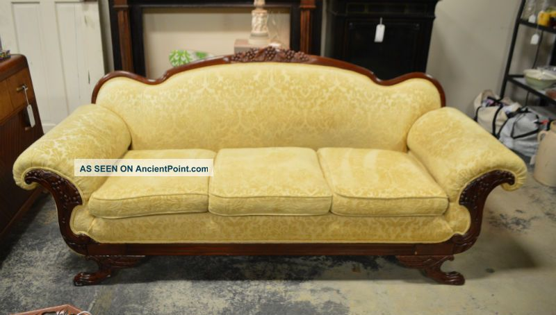 Antique Duncan Phyfe Sofa With Grape,  Oak Leaf & Griffin Carvings And Paw Feet Unknown photo