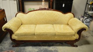 Antique Duncan Phyfe Sofa With Grape,  Oak Leaf & Griffin Carvings And Paw Feet photo