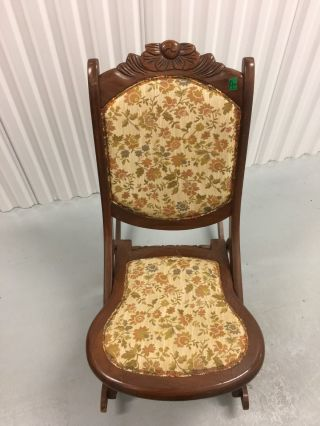 Antique Vintage Wooden Folding Rocker Rocking Chair Tapestry Victorian photo