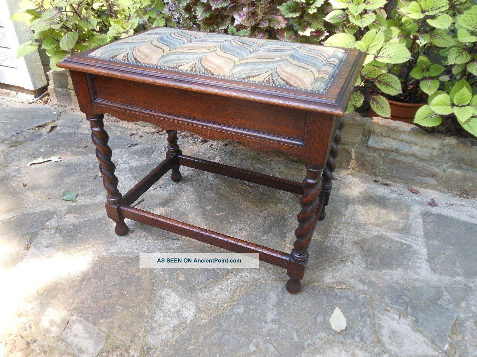 Oak Barley Twist Piano Organ Vanity Bench Stool Seat From England 1900-1950 photo