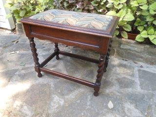 Oak Barley Twist Piano Organ Vanity Bench Stool Seat From England photo