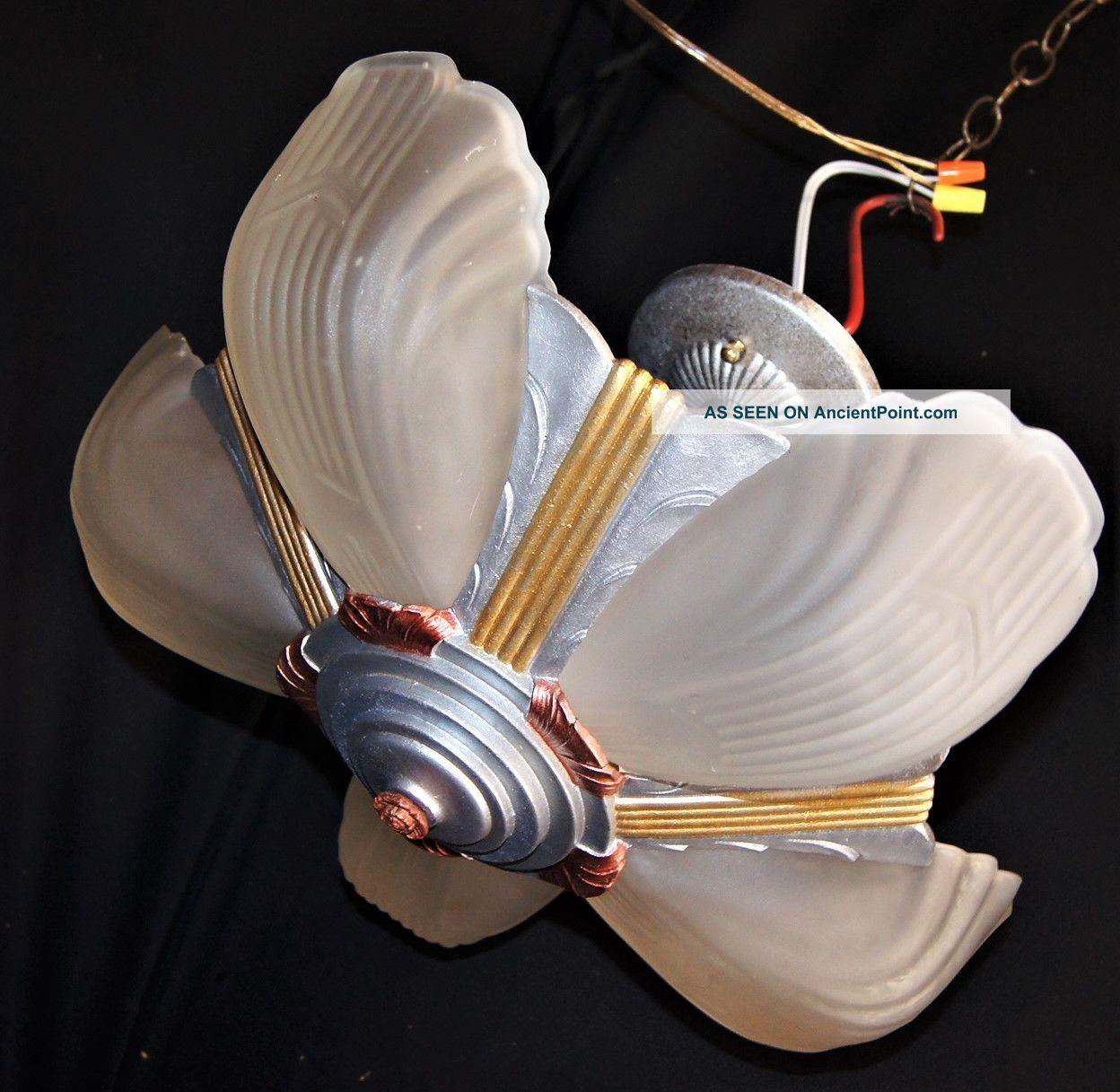 Vtg Art Deco Slip Shade Cast Metal Chevron Ceiling Light Chandelier Fixture 1930 Chandeliers, Fixtures, Sconces photo
