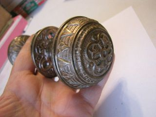 Antique Victorian Brass Door Knob With Matching Back Plates