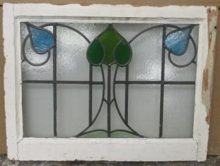 Mid Sized Old English Leaded Stained Glass Window Floral 26