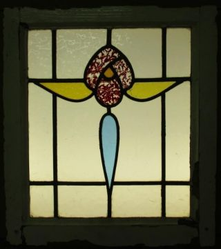 Edwardian English Leaded Stained Glass Window Stunning Floral 18.  75