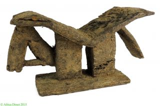 Dogon Headrest Zoomorphic Horse Encrusted Mali African Art photo