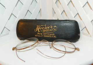 Vintage American Optical A.  O.  Co 10k Gold Glasses Spectacles Bifocal Hoosier Case photo