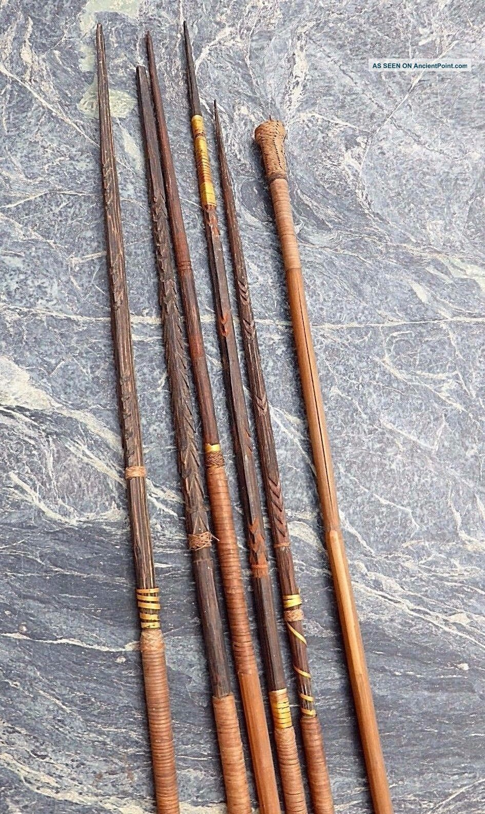 Six Oceanic Papua Guinea Carved Wooden Bamboo Hunting Arrows Spears No Club Pacific Islands & Oceania photo