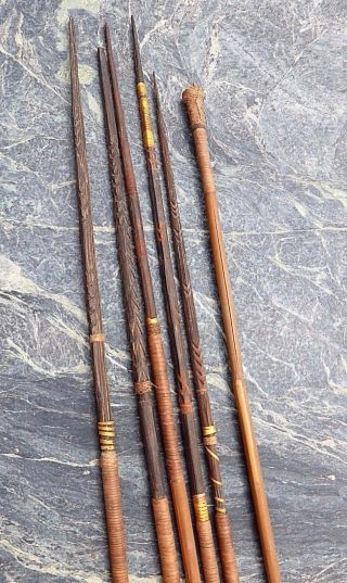 Six Oceanic Papua Guinea Carved Wooden Bamboo Hunting Arrows Spears No Club photo