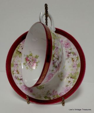 Antique Austria Fine Porcelain Tea Cup And Saucer - Rare Stamp - photo