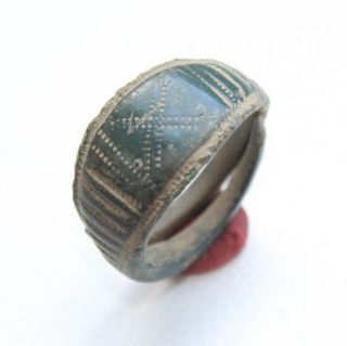 Ancient Old Viking Ornament Bronze Finger Ring (jul77) photo