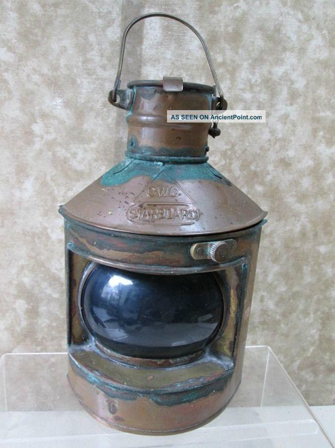 Vintage Starboard Ship Light,  Oil Burner & Reflector,  Brass,  C.  1880 Lamps & Lighting photo