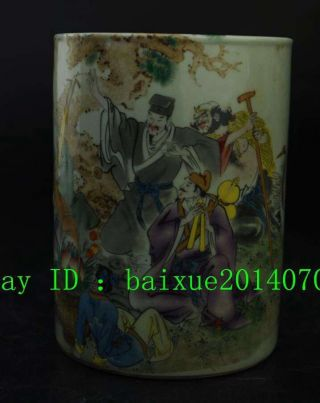 Old China Wucai Porcelain Myth Eight Immortals God Brush Pot Pencil Holder Vase photo