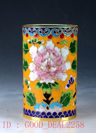 Chinese Cloisonne Hand - Painted Flower Brush Pots Jtl017 photo
