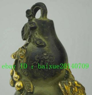 Chinese Bronze Copper Fengshui Wealth Golden Toad Fu Vase Bottle Gourd Statue photo