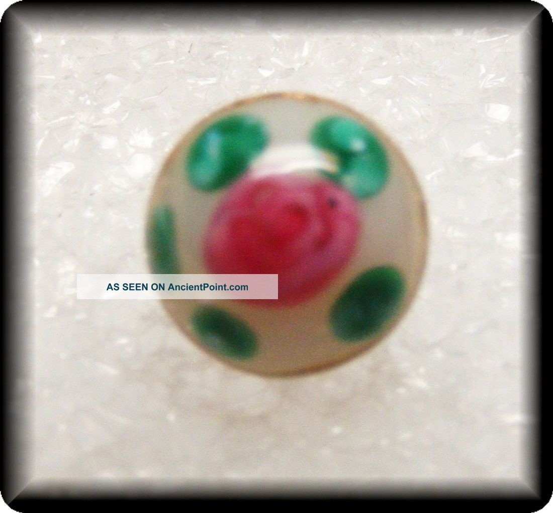 Antique Dimi Glass Charm String Button Moon Glow White W Pink & Green Dots Buttons photo