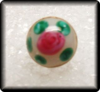 Antique Dimi Glass Charm String Button Moon Glow White W Pink & Green Dots photo
