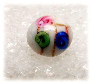 Antique Dimi Glass Charm String Button White,  Pink,  Green & Blue & Goldstone photo