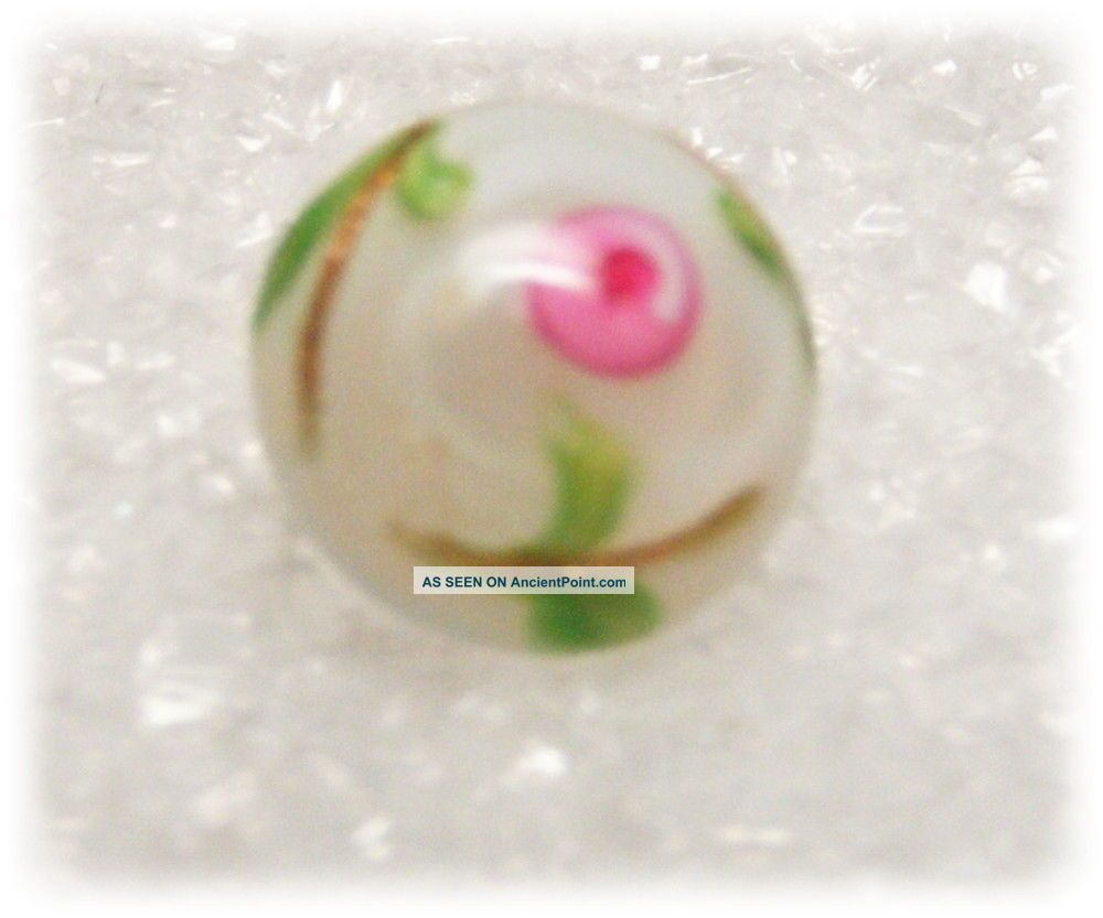 Antique Diminutive Glass Charm String Button Moon Glow White W Pink Rosette Buttons photo