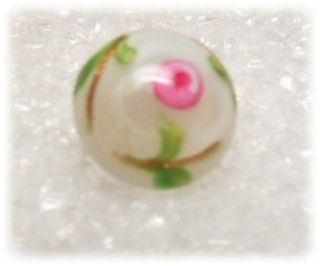 Antique Diminutive Glass Charm String Button Moon Glow White W Pink Rosette photo