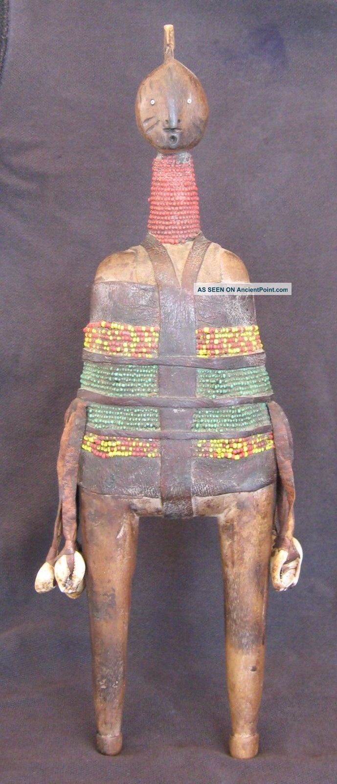 Vintage African Fertility Doll Beaded W/leather Shells Namchi Cameroon 1950s Sculptures & Statues photo