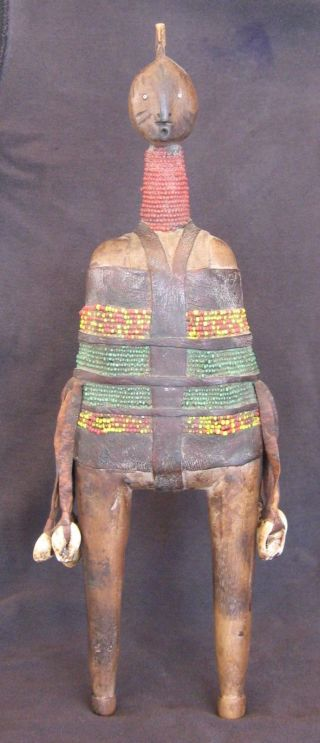 Vintage African Fertility Doll Beaded W/leather Shells Namchi Cameroon 1950s photo
