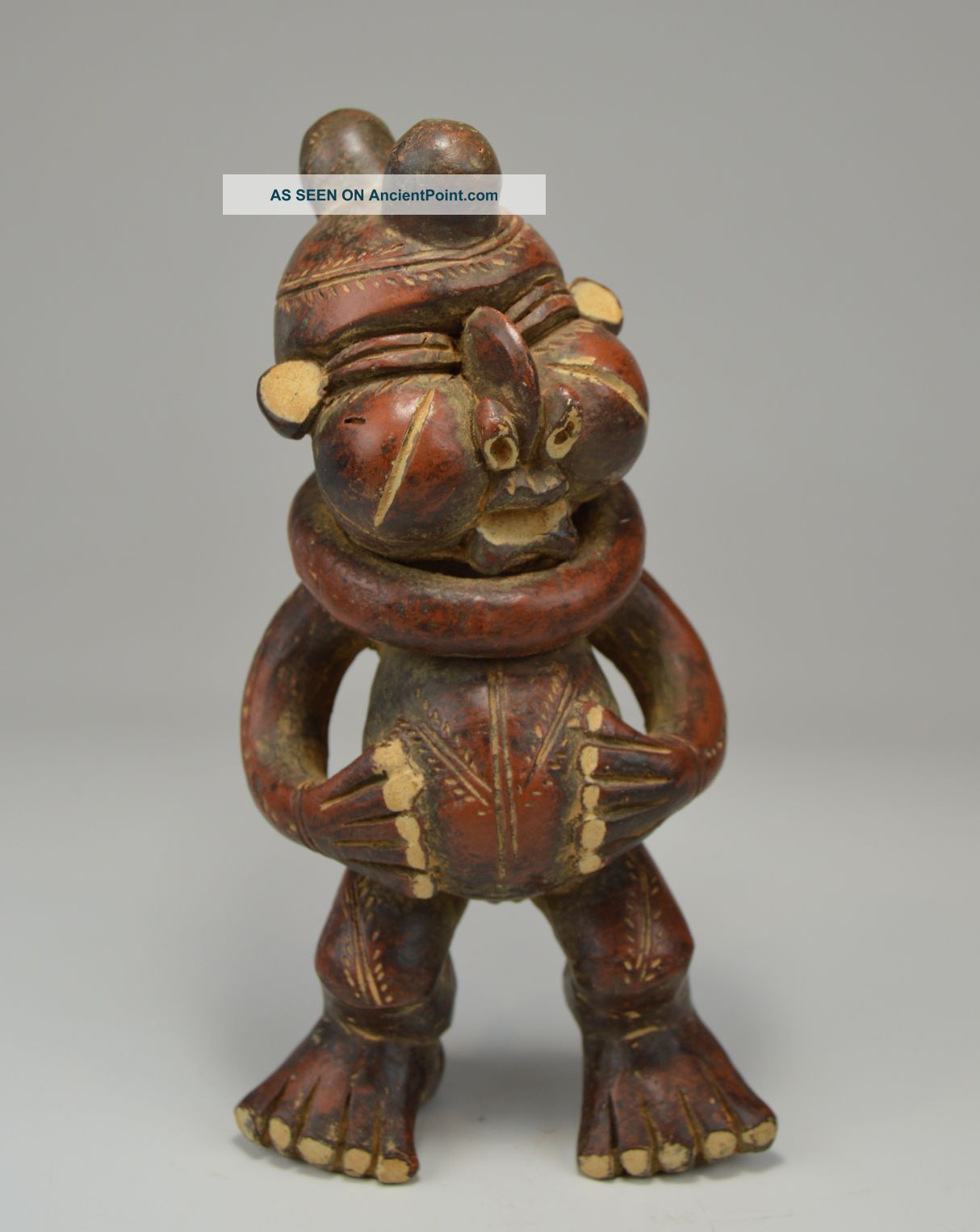 Vintage Tikar Clay Pygmy Sculpture With Collar Around Neck,  African Art Sculptures & Statues photo