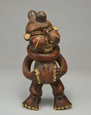 Vintage Tikar Clay Pygmy Sculpture With Collar Around Neck,  African Art photo