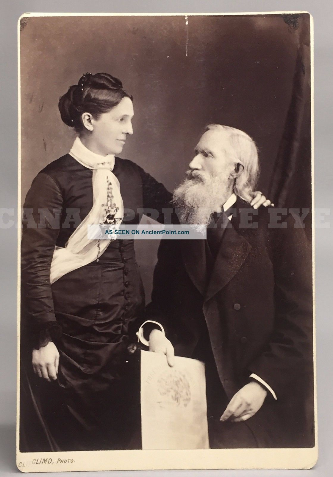 Phrenologist Orson Scott Fowler & Bride - Antique Vtg Phrenology Head Photo Other Medical Antiques photo