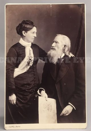 Phrenologist Orson Scott Fowler & Bride - Antique Vtg Phrenology Head Photo photo