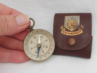 Vintage Brass Cased Compass Marked Foreign In Leather Case Marked Edinburgh photo