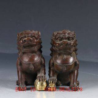 Old Chinese Bronze Hand Made Carved A Lions Statue (door - God) Ht107 photo