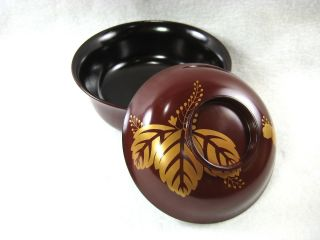 Japanese Antique Gold Makie Brown Lacquer Bowl Mon Family Crest photo
