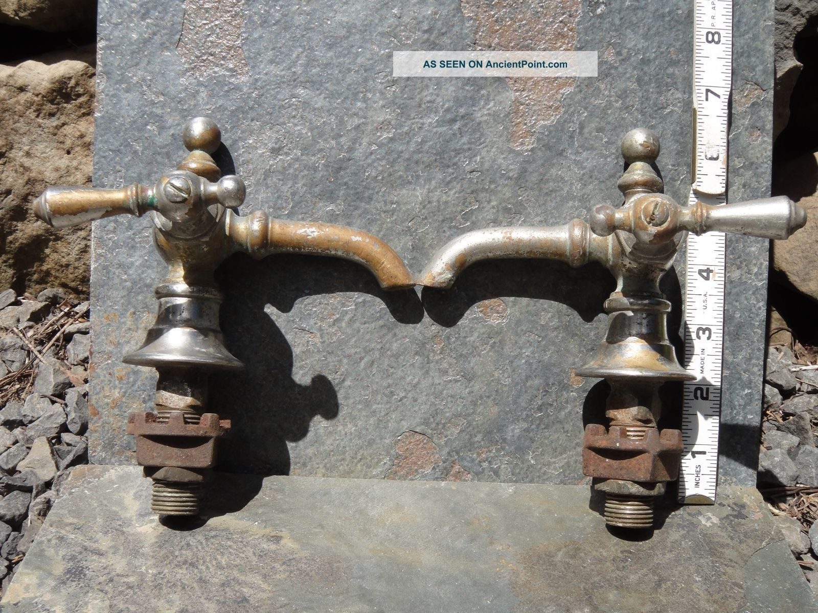 Faucets Brass Chromed Ornate Hot & Cold For Sink Or Tub Antique,  Vintage Plumbing photo