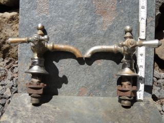 Faucets Brass Chromed Ornate Hot & Cold For Sink Or Tub Antique,  Vintage photo