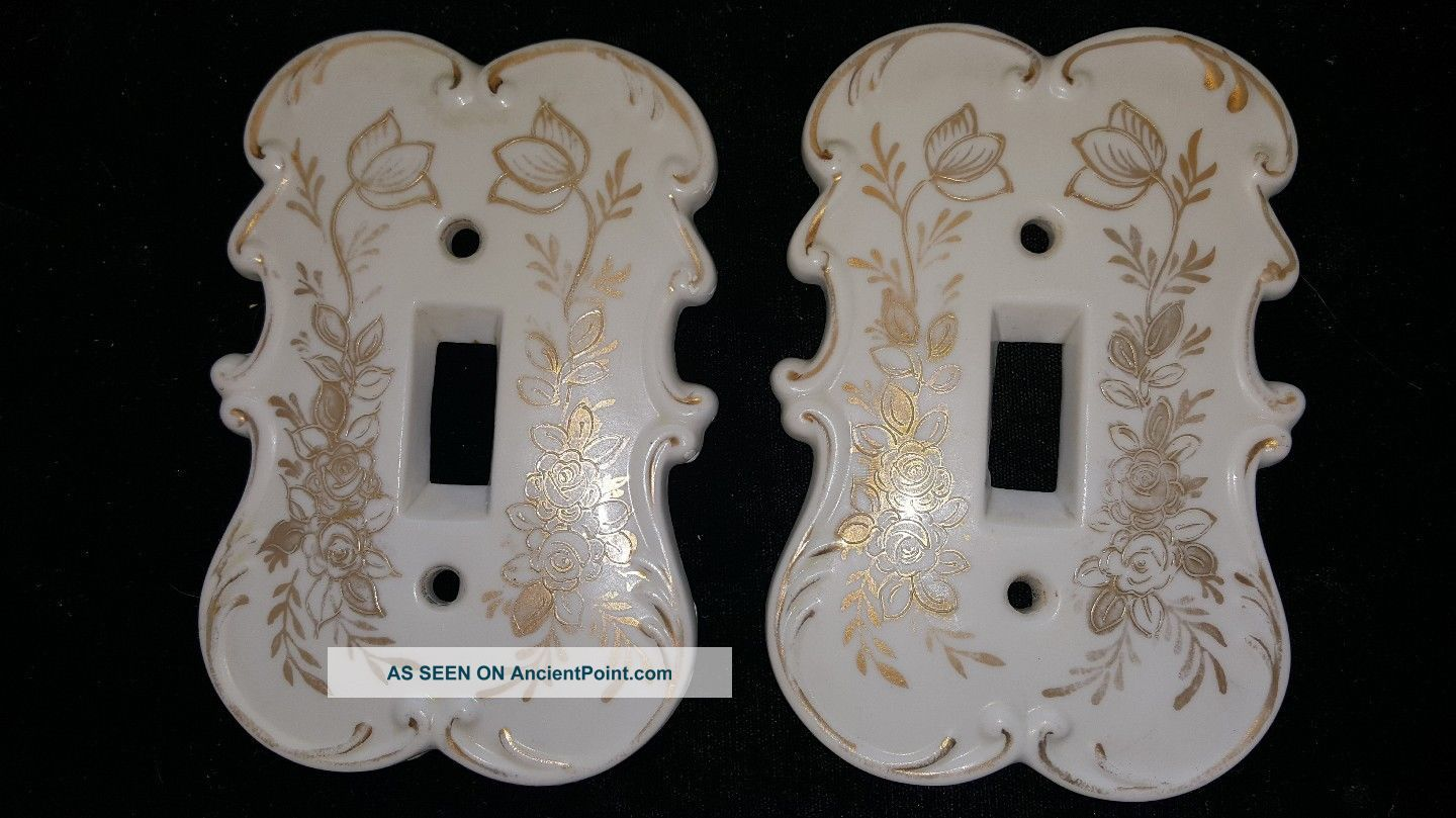 Vintage Pair Arnart Creation Japan 6925b Porcelain Switch Plate Covers Switch Plates & Outlet Covers photo