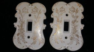 Vintage Pair Arnart Creation Japan 6925b Porcelain Switch Plate Covers photo