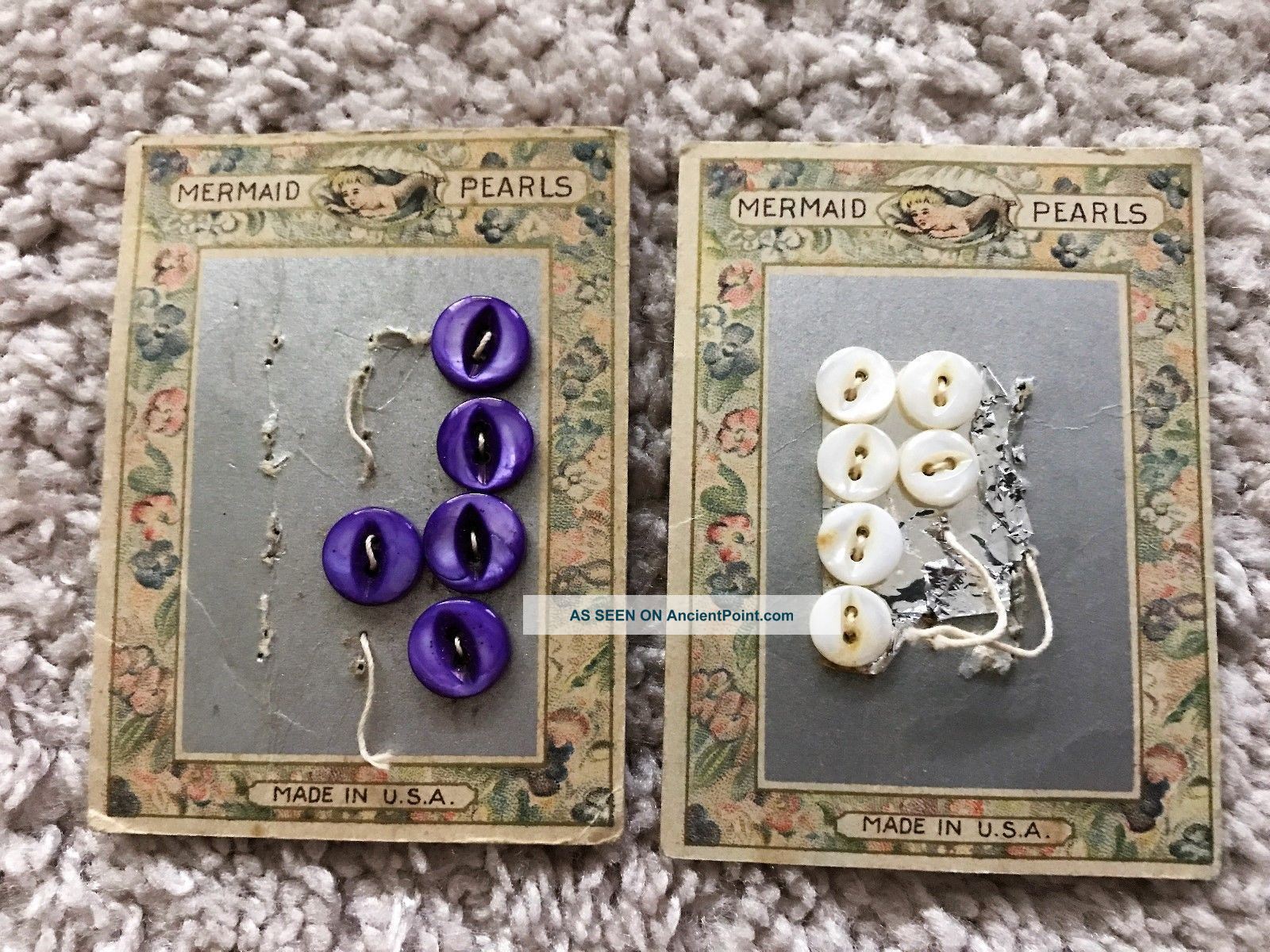 Antique Mermaid Pearls Mother Of Pearl Buttons Cards 1920 ' S Buttons photo